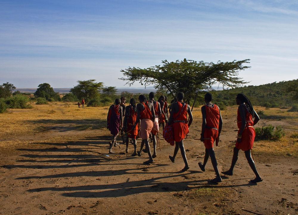 Massajer i Masai Mara.