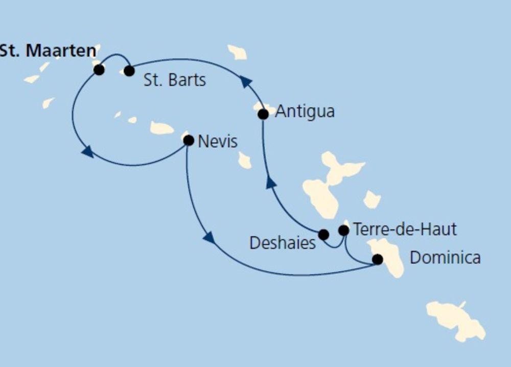 Rutten går från Saint Martin-Nevis-Dominica-Îles des Saintes-Guadeloupe-Antiga-Saint Barthélemy-Saint Martin.