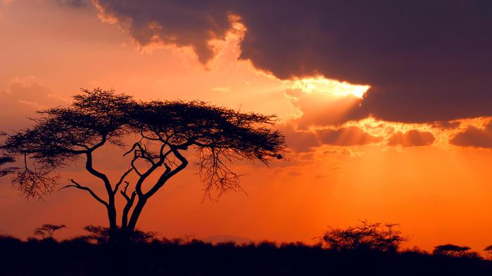 Solnedgång över Samburu.
