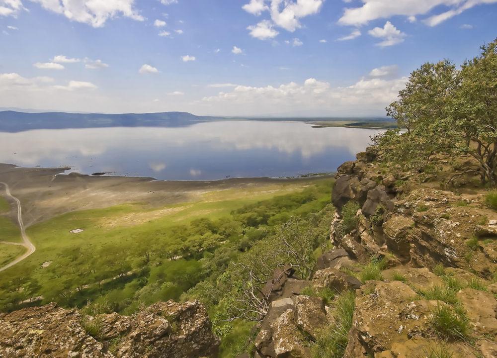 Utsikt over sodasjøen Lake Nakuru
