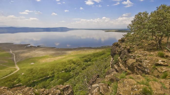 Utsikt över sodasjön Lake Nakuru.