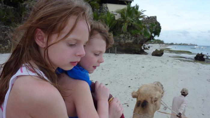 På kvelden er det koselig å ri kamel på stranden