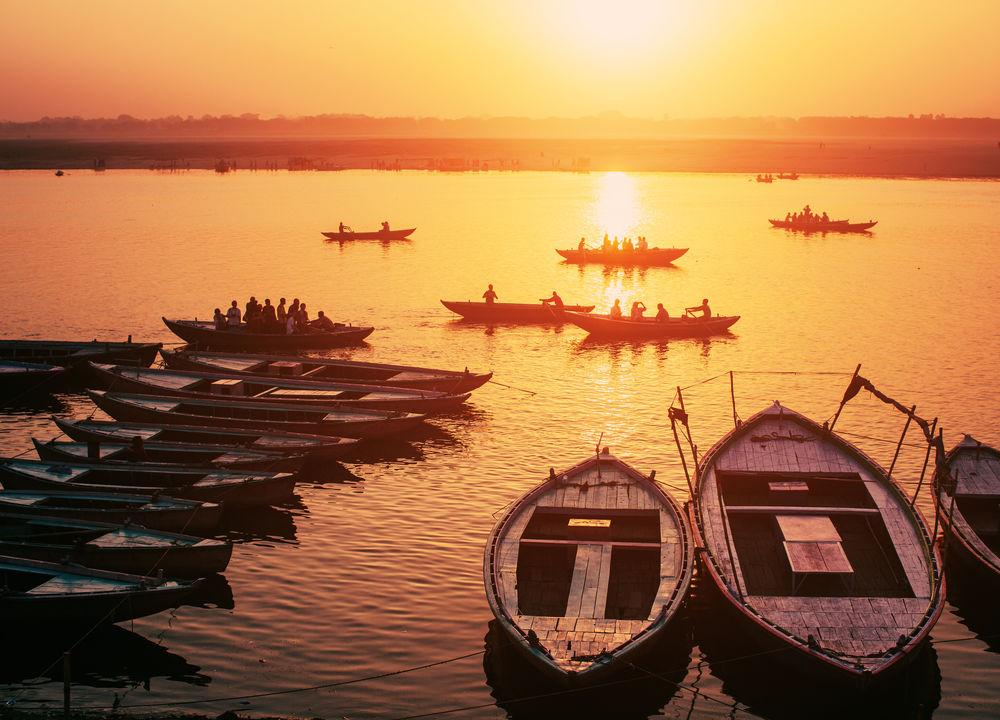 Solnedgång över Ganges