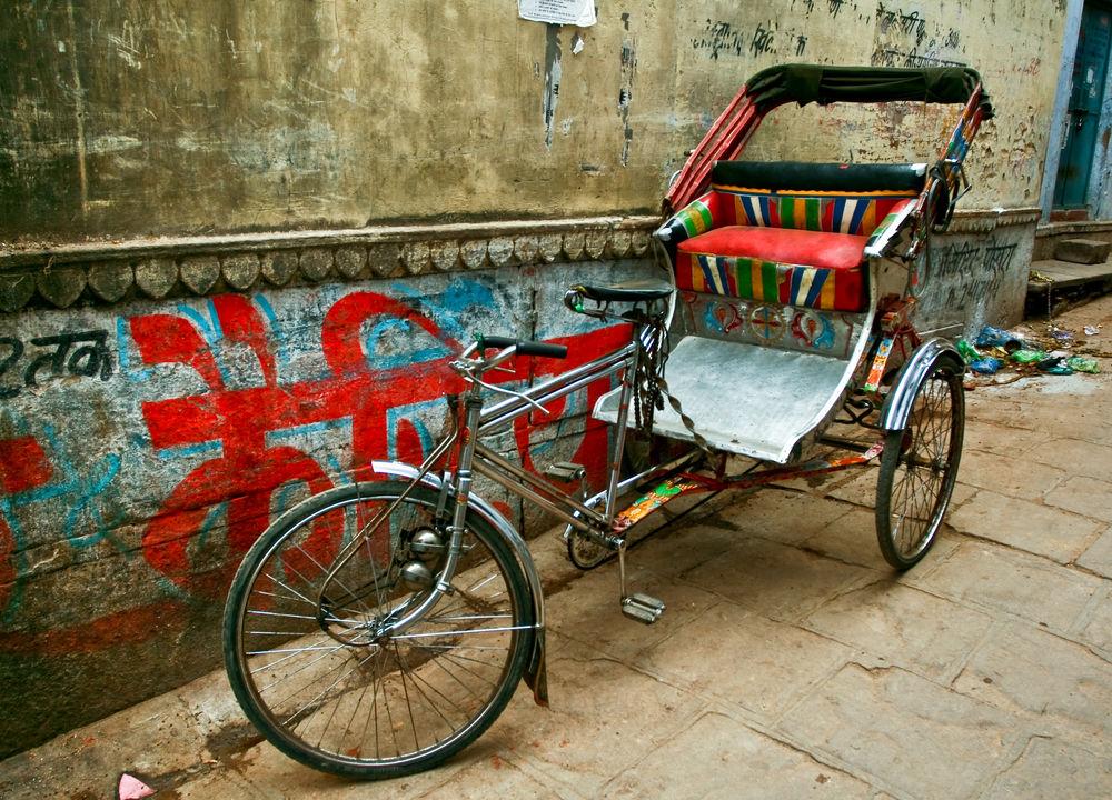 <strong>Cykelrickhaw i Delhi</strong>